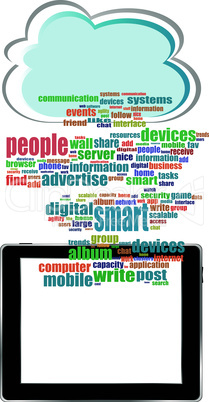 Vector concept communicator with social network word cloud with tablet pc