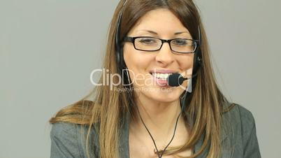 Customer support talking with headset
