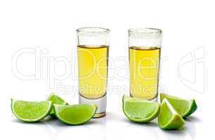 Shot of Gold Tequila with Slice Lime