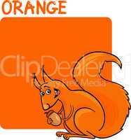 Color Orange and Squirrel Cartoon