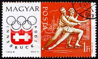 Postage stamp Hungary 1963 Figure Skating, Pair, Olympic sports,