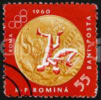 Postage stamp Romania 1961 Wrestling, Olympic sports, Roma 60
