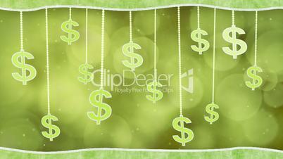 green dollar signs dangling on strings loop background