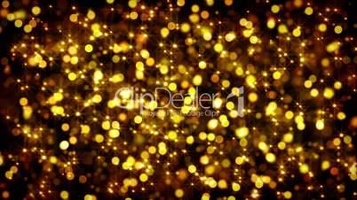 gold bokeh circles and stars loop