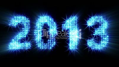 new year 2013 greetings glowing blue particles with alpha matte