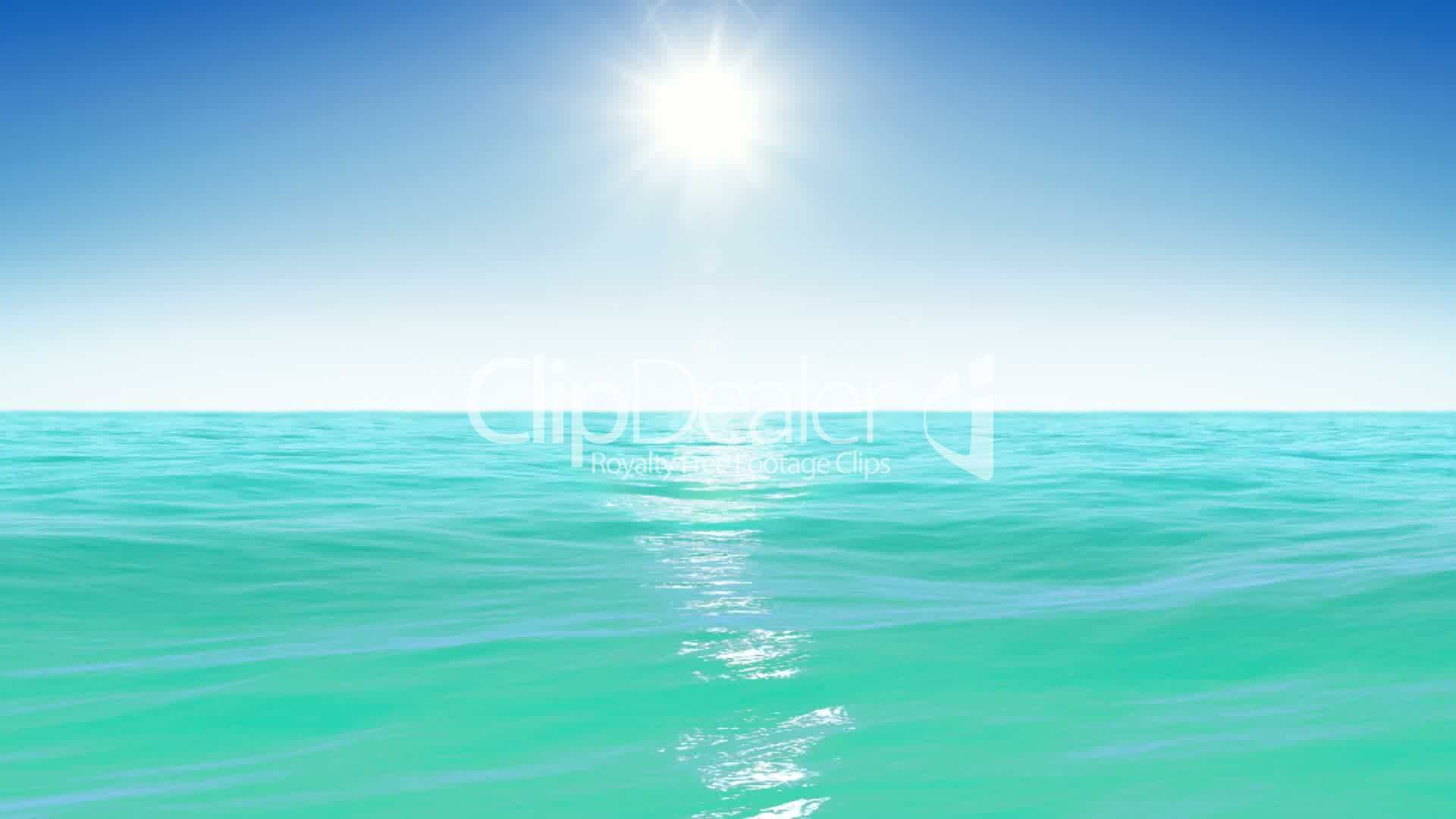 sea and sun  blue sky  looped animation  hd 1080   royalty