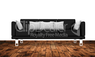 Moderne Couch Auf Holzboden An Weisser Wand Royalty Free Images