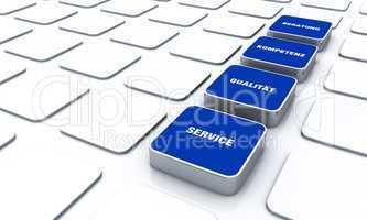 Quader Konzept Blau - Beratung Kompetenz Qualität Service 6
