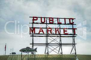 famous public market sign in seattle, washington