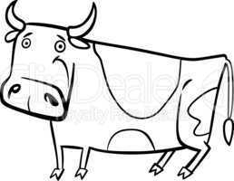 cartoon illustration of farm cow for coloring