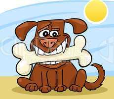 Cartoon Dog with big bone