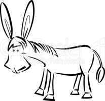 cartoon illustration of donkey for coloring
