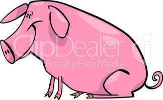 cartoon illustration of farm pig