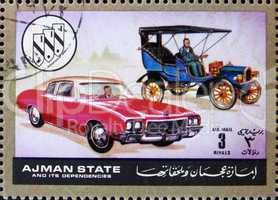 Postage stamp Ajman 1972 Chevrolet, Cars Then and Now