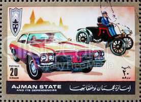 Postage stamp Ajman 1972 Ford, Cars Then and Now