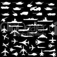 Vector set of aircraft, armored ships and guns.