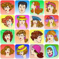 Set of various cartoon male and female faces.