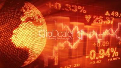 globe and graphs orange stock market loopable background
