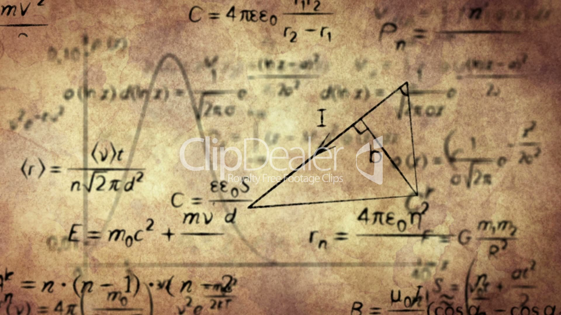Math Physics Formulas On Old Paper Loopable Royalty Free