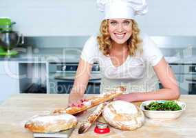 Bakery woman preparing healthy food