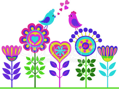 Decorative colorful funny flower background