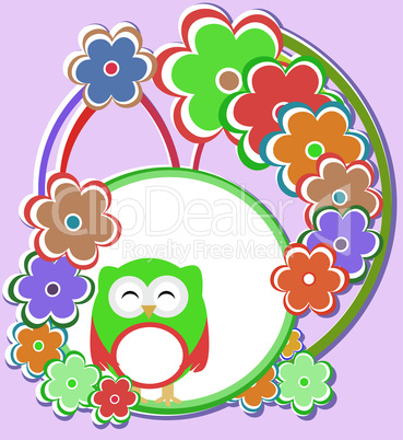 Cute background with owl and flowers - vector