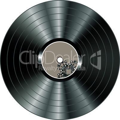 Black vector vinyl record lp album disc isolated on white