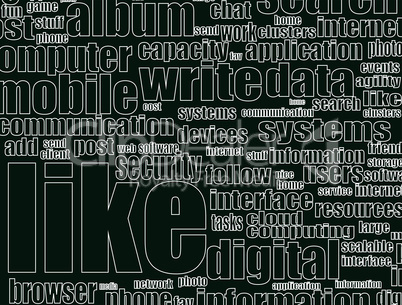 Like - social media concept in word tag cloud - business