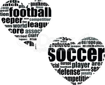 Football word cloud concept in heart shape - soccer theme