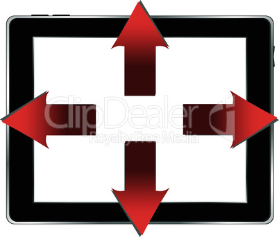 vector tablet pc and business red arrows