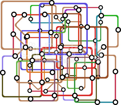 Colorful abstract subway map. Vector illustration. railway pattern