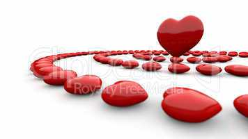 3D love concept - red and white
