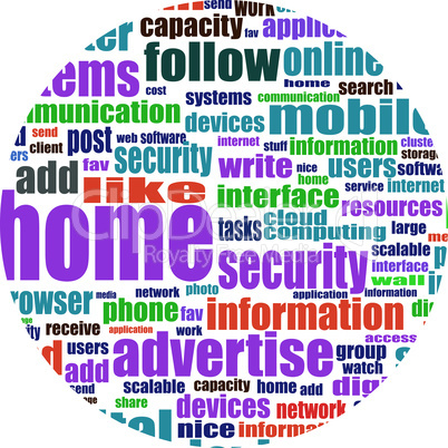 Illustration of social media concept. Social Media Wordcloud in circular shape