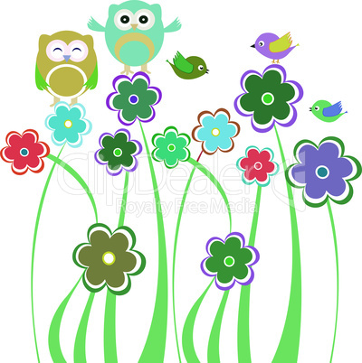 Cute kids background with flowers and birds and owls