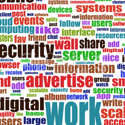 Social media and business concept in tag cloud background