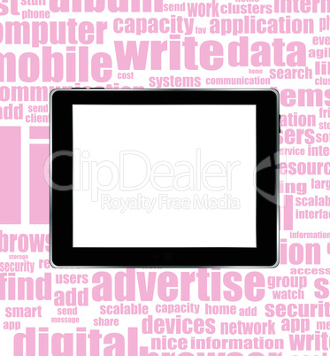Black abstract tablet pc on socilal business word background