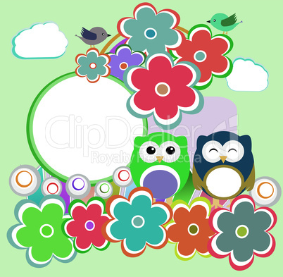Background with owl, flowers and birds - happy birthday