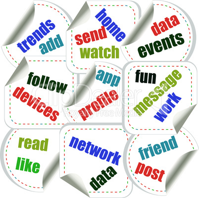 Social media business concept stickers in word tag cloud