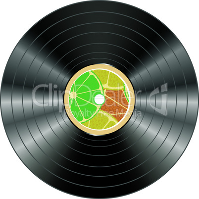 vinyl record isolated with summer juice circle