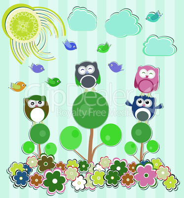Background with flowers and owls sitting on the tree