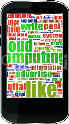 Touchscreen smartphone with social word cloud isolated on white background
