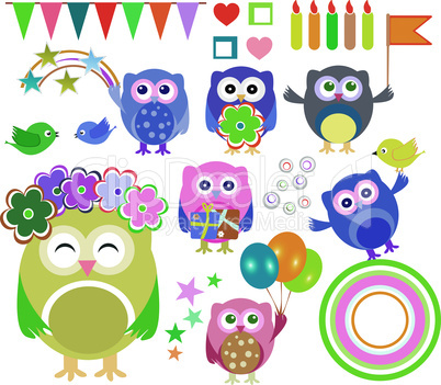Set of vector happy birthday party elements with cute owls