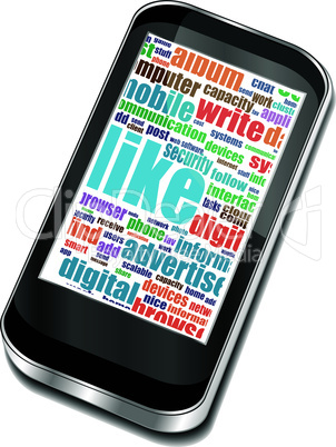 smart phone with social media and business words on screen
