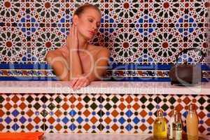 woman in the bathtube