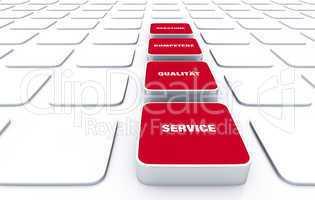 Quader Konzept Rot - Beratung Kompetenz Qualität Service 2