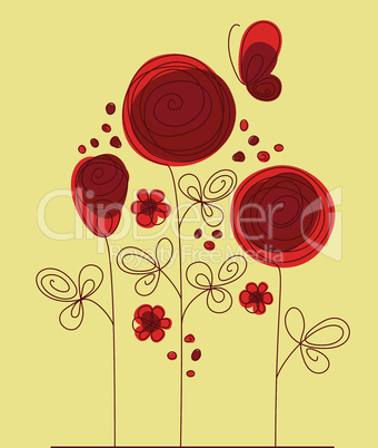 Decorative background with abstract roses