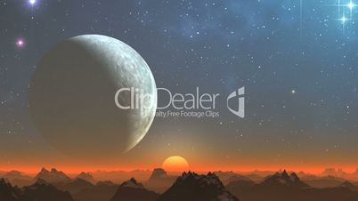 The big moon and rising on a fantastic planet