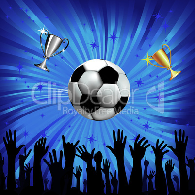 Soccer ball and champion cup for football sport with fan hands silhouettes