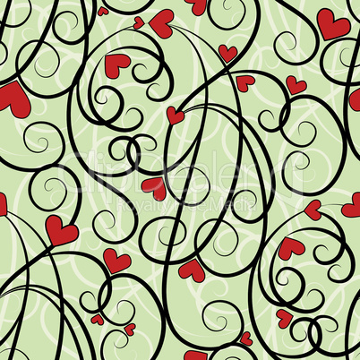 Wave floral heart seamless background.