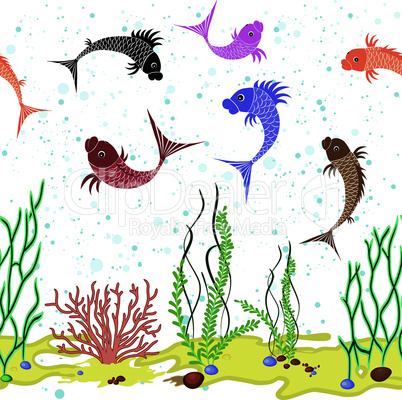 Fish water world background.